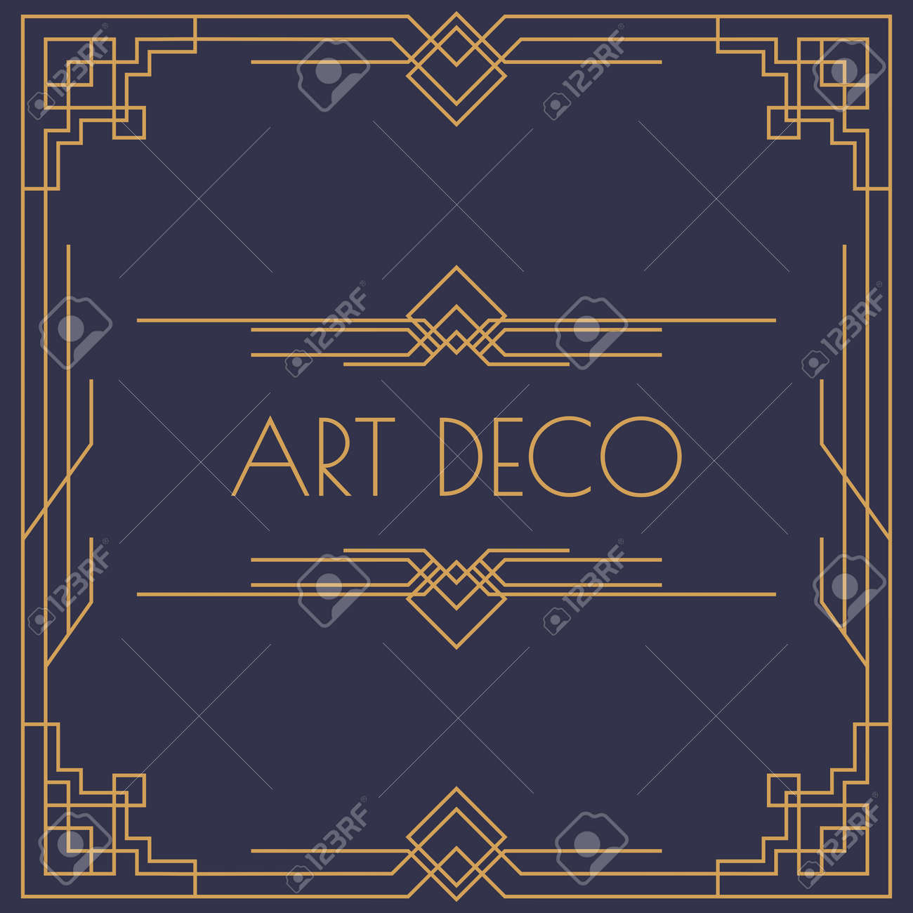 art deco and arabic invitation card template square shape with frame