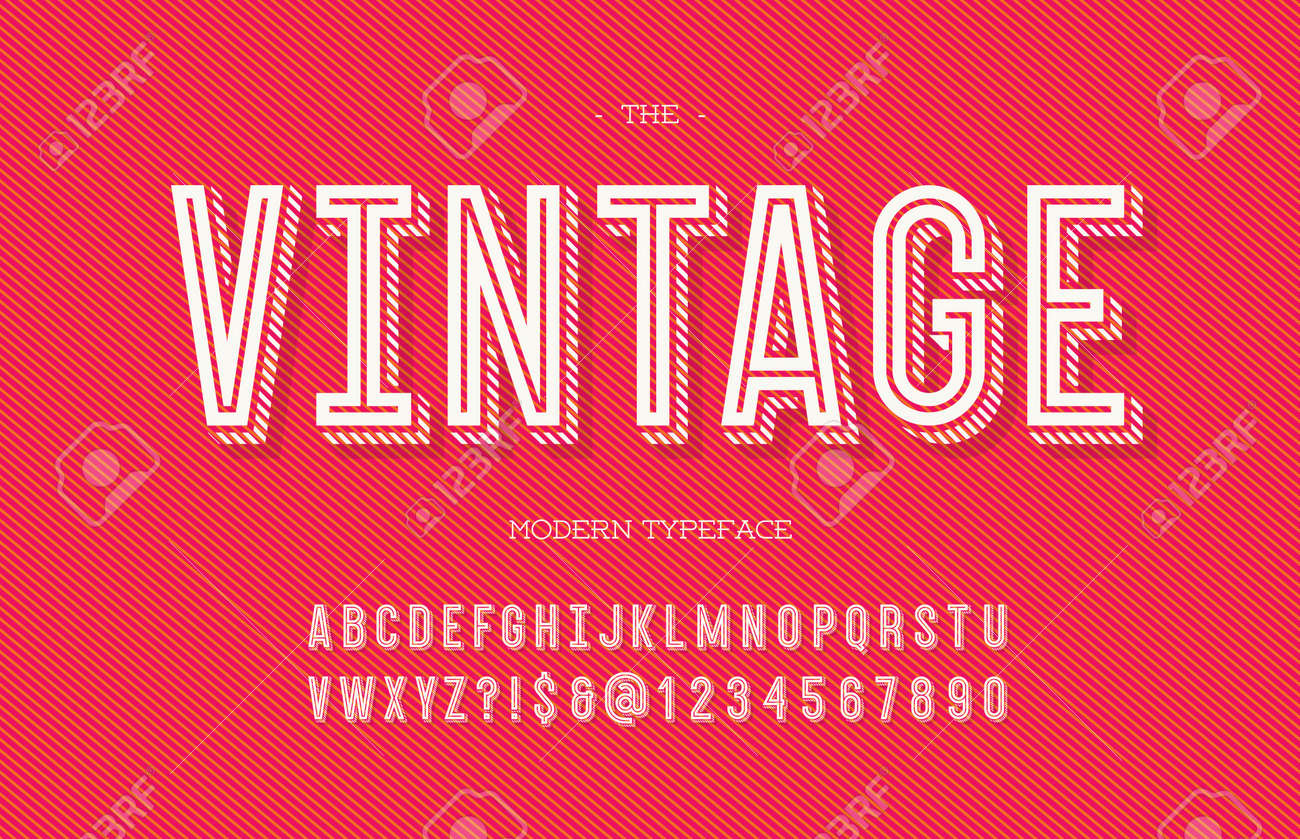Vintage modern typeface. Alphabet trendy typography sans serif style for party poster, printing on fabric, t shirt, promotion, decoration, stamp, label, special offer. Cool font. Vector 10 eps - 102576432