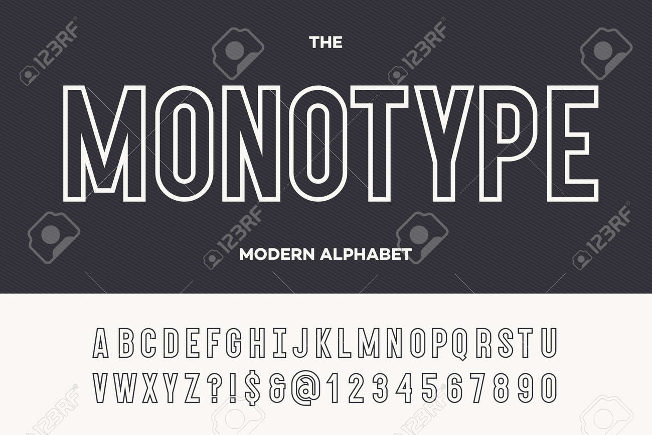 Monotype modern alphabet  Typeface modern typography sans serif style for  party poster, printing on fabric, t shirt, promotion, decoration, stamp,