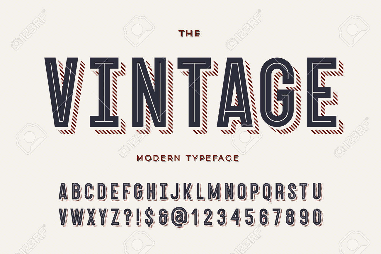 Vector vintage colorful typeface. Alphabet trendy typography sans serif style for party poster, printing on fabric, t shirt, promotion, decoration, stamp, label, special offer. Cool font. 10 eps - 102624218