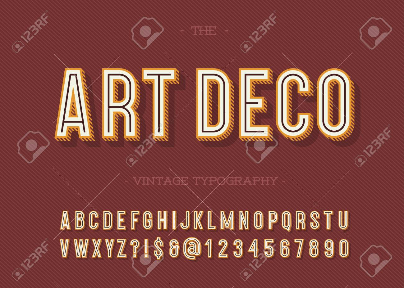Art Deco Vintage Typography Alphabet Modern Retro Font Sans Serif Style For Party Poster
