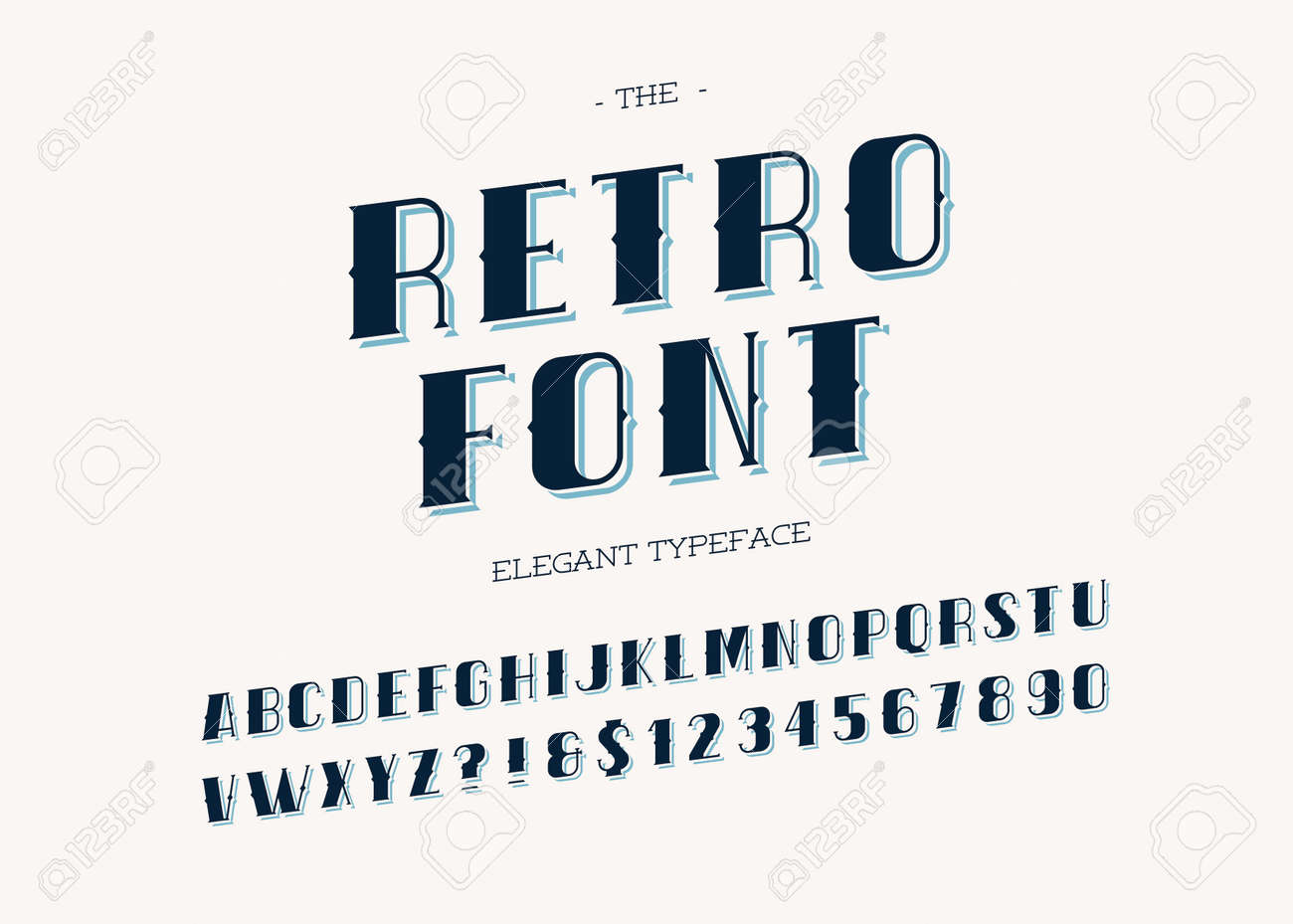Retro Font Trendy Modern Typography Alphabet Vintage Sans Serif Style For Party Poster Printing