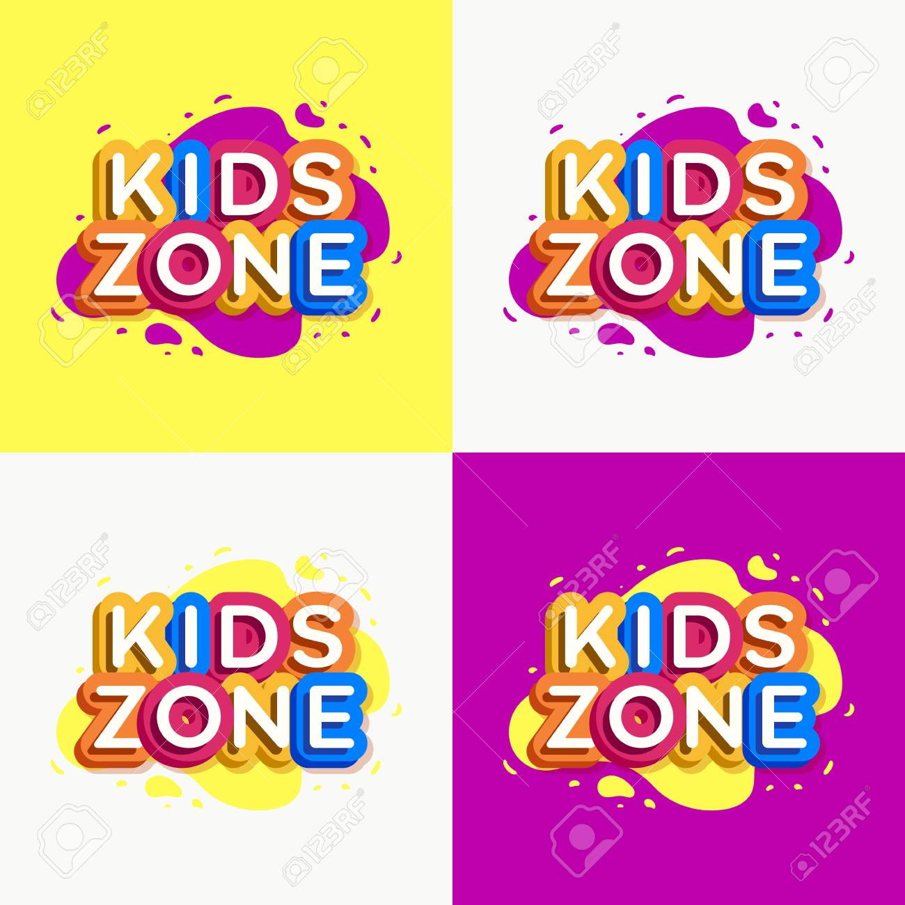 423ae5882c7c Vector Kids Zone Logo Set Colorful Style For Game Store