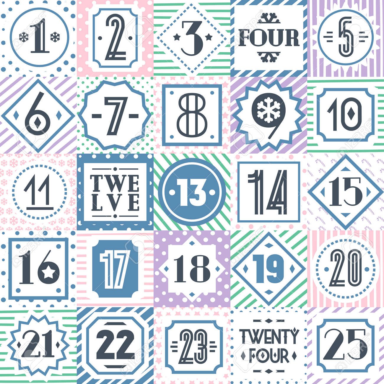 image regarding Countdown Printable titled Vector xmas countdown printable tags range colourful..