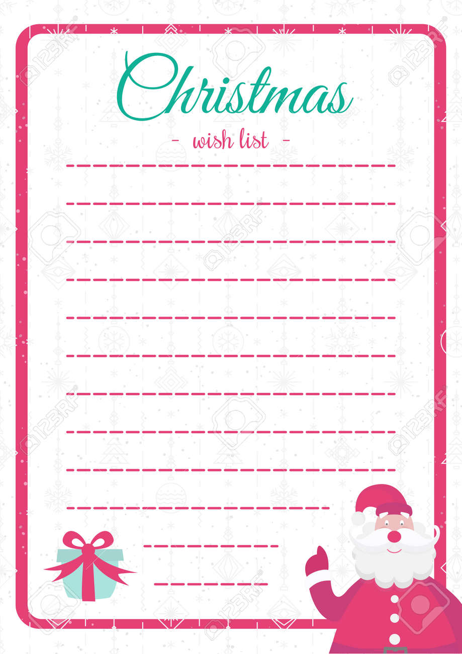 Christmas List Template.Vecor Christmas Wish List Template Colorful Style With Santa