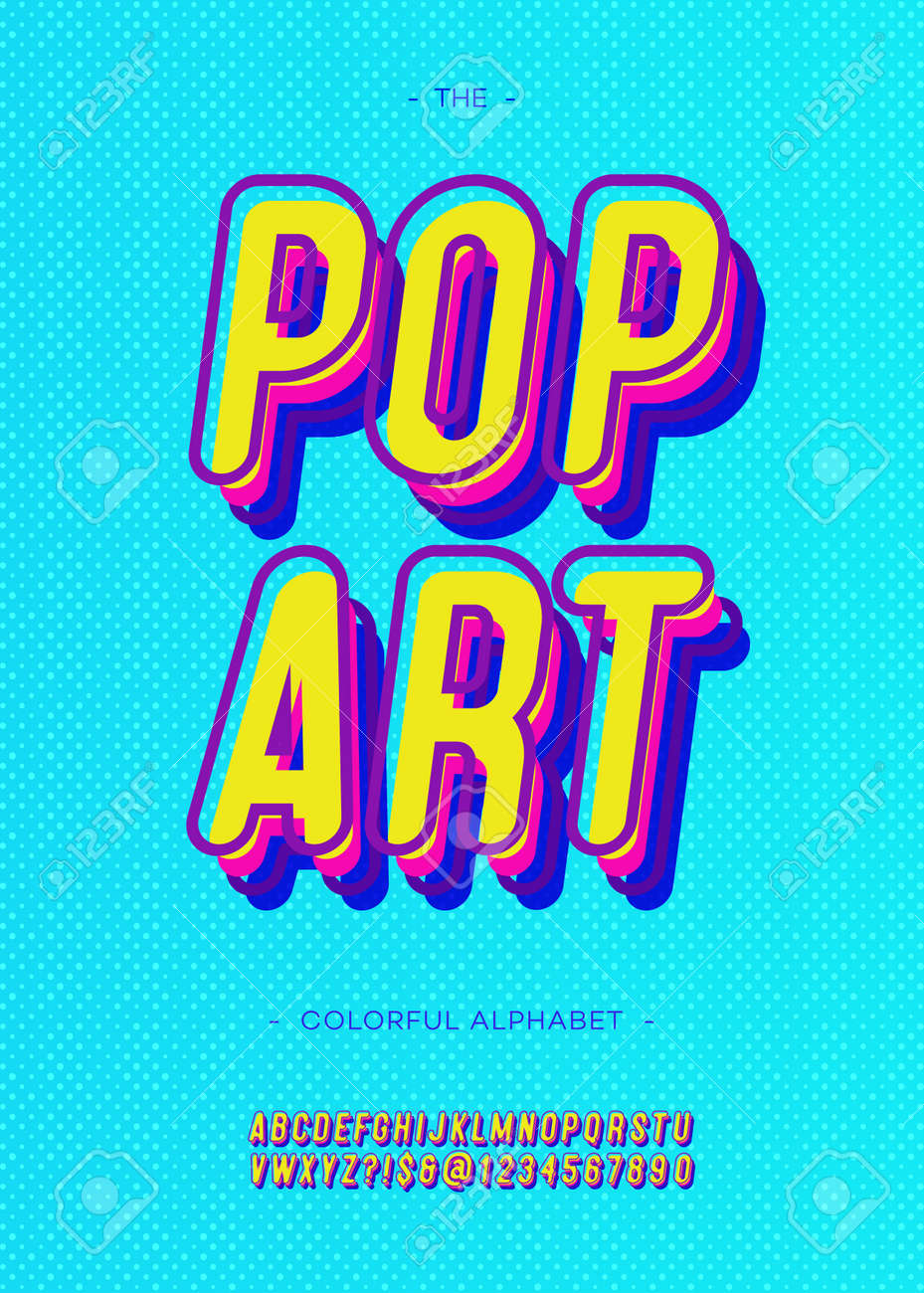 73194e62 Vector - Vector pop art alphabet modern typography sans serif style for  book, promotion, poster, decoration, t shirt, sale banner, printing on  fabric.