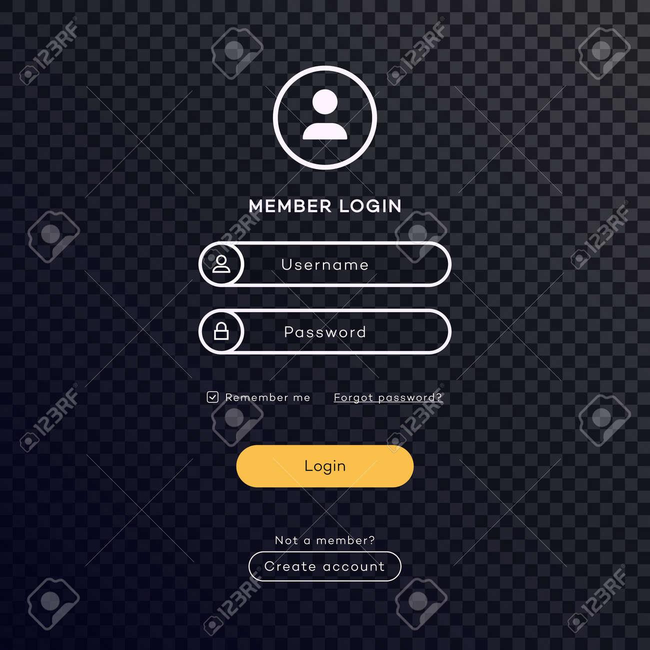 Login form page dark theme on transparent background for app