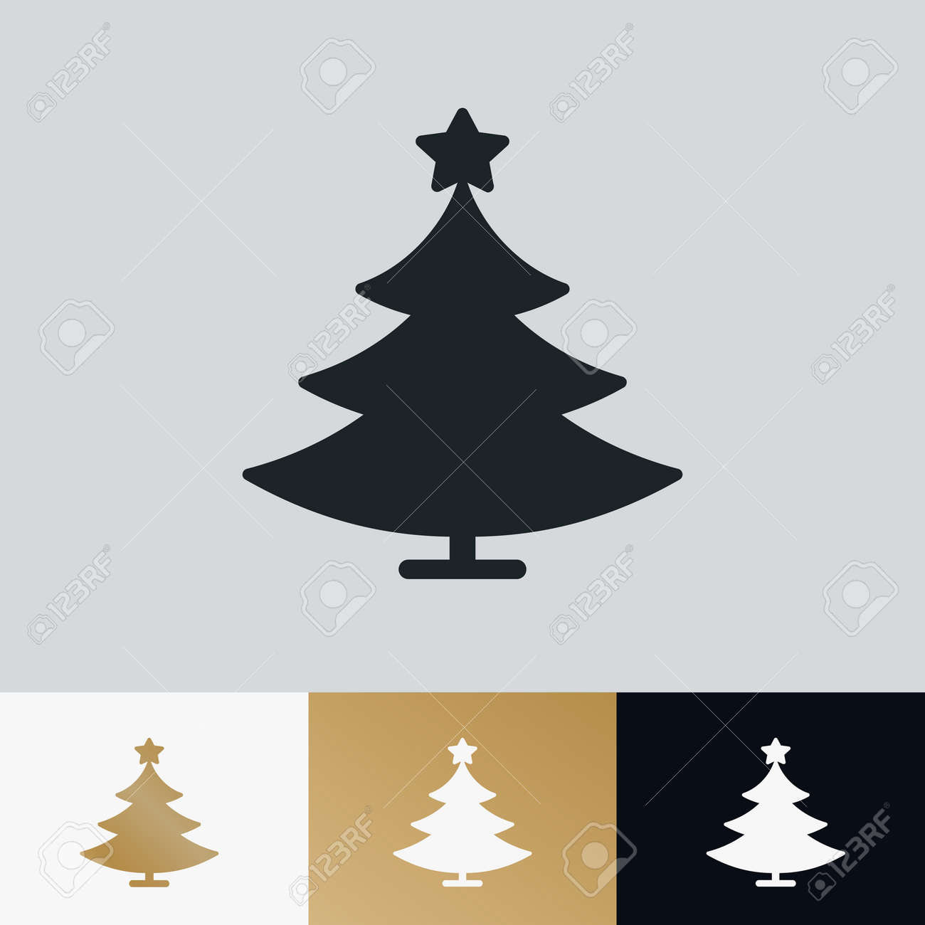 Christmas Card Printing.Christmas Tree Icon Set Isolated On Background For Greeting Card