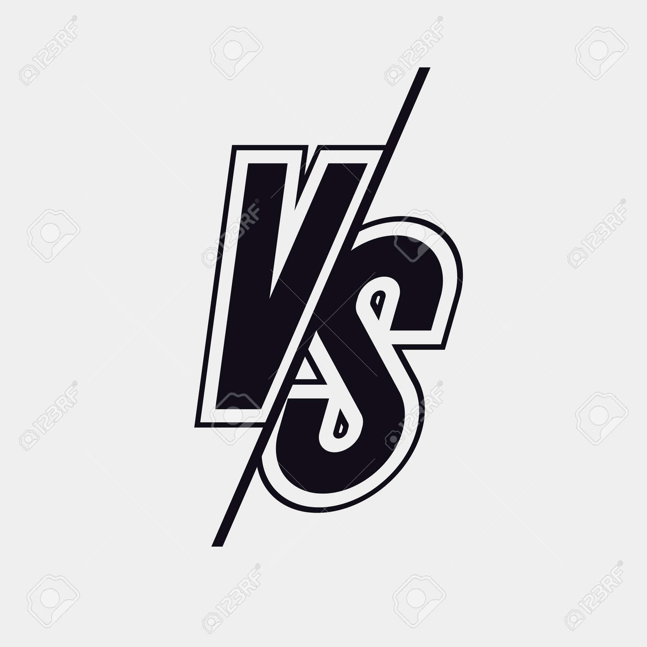 Vector Versus Sign Modern Style Black Color Isolated On