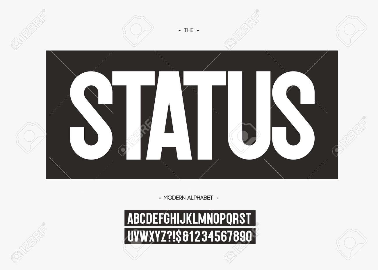 Vector bold status font trendy typography for industrial, decoration,