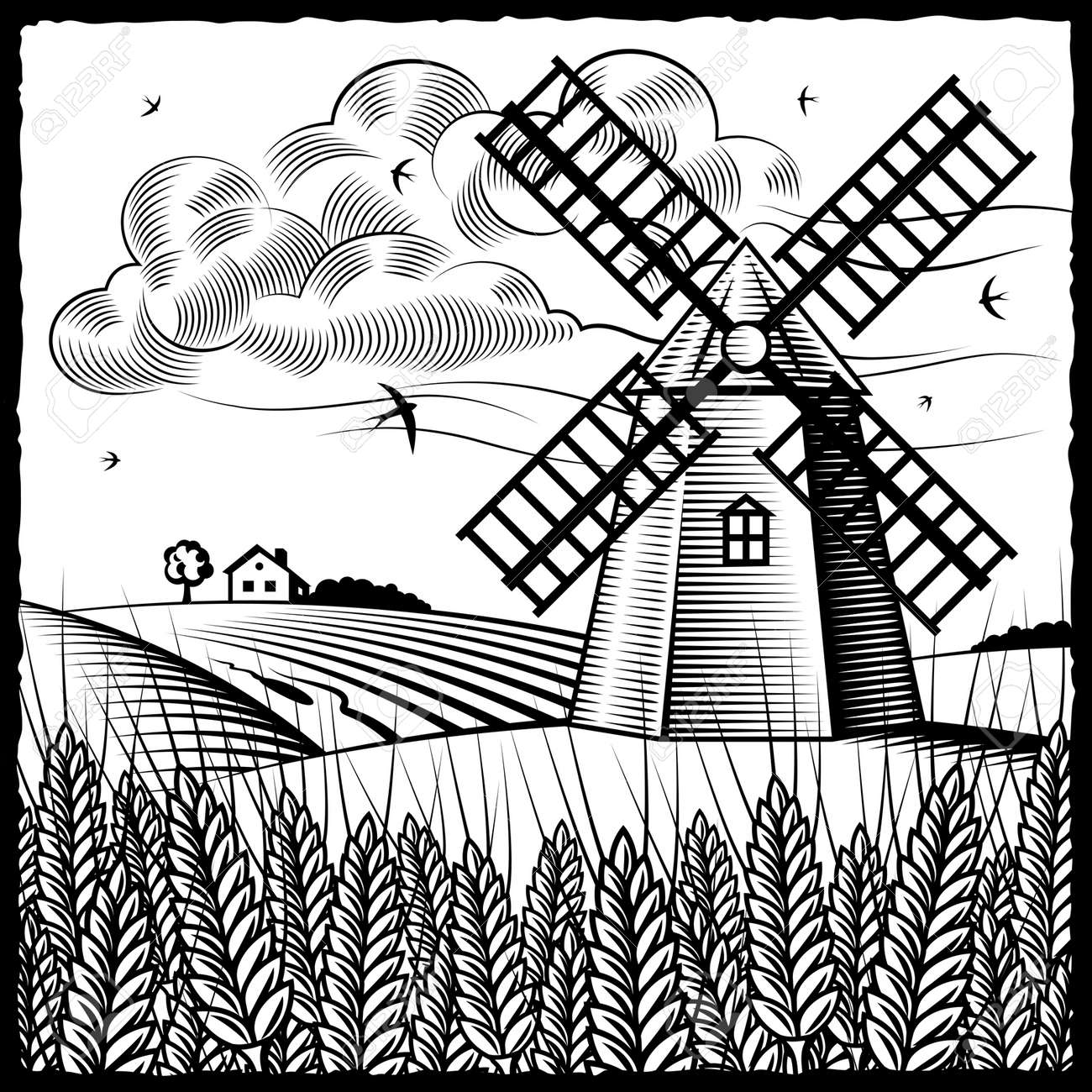 Agriculture Clipart Black And White windmill black and white