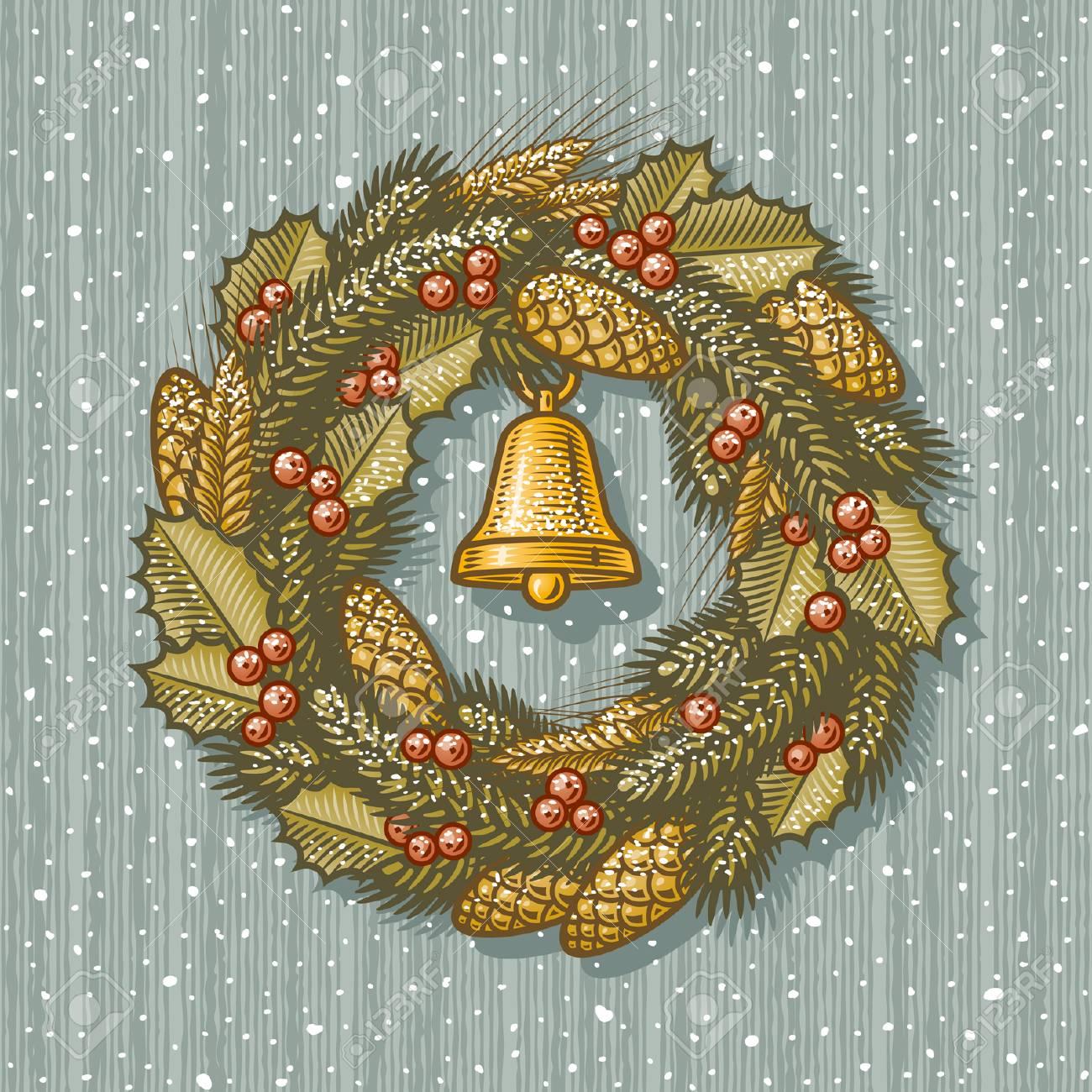 Retro Christmas wreath Stock Vector - 5779968