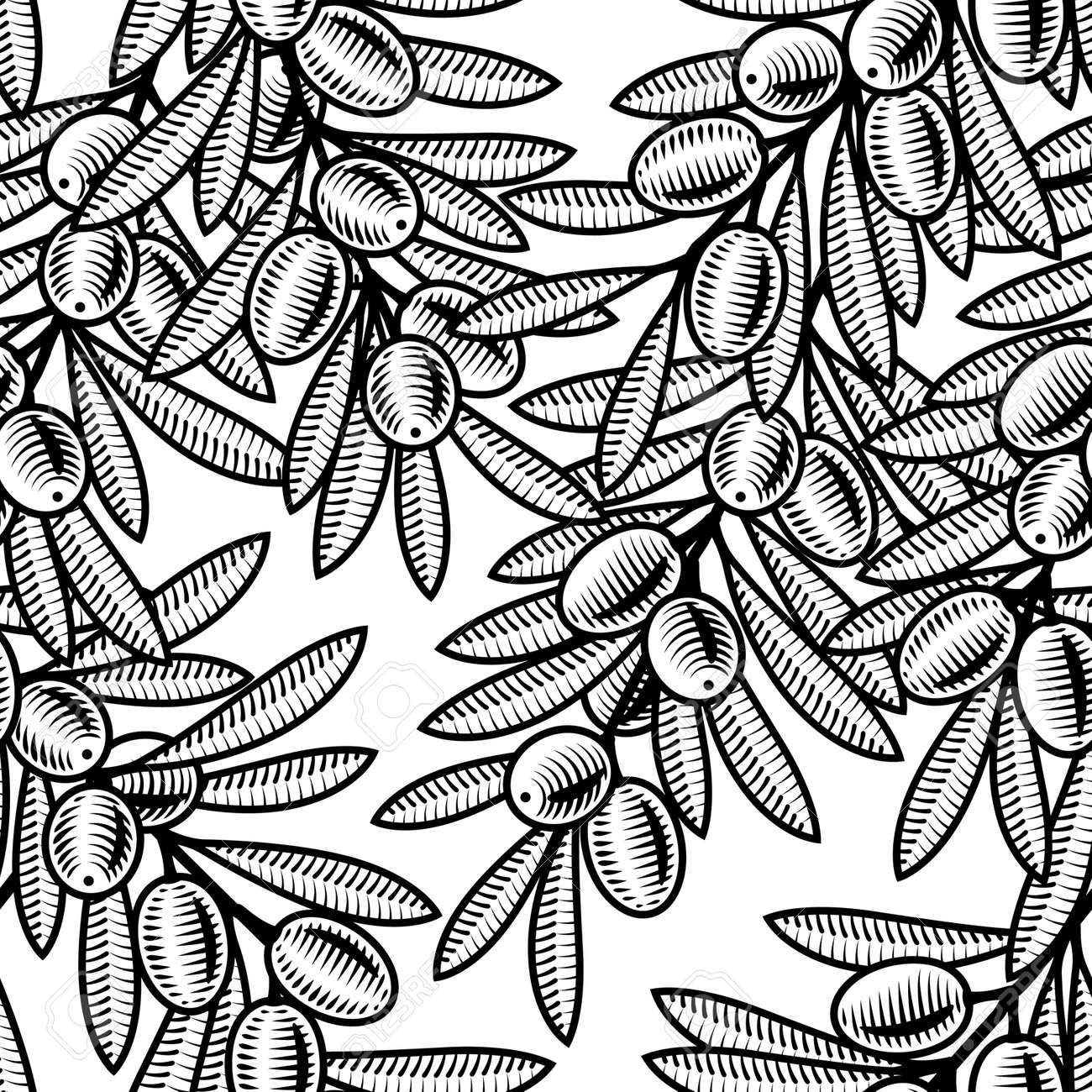 Seamless olive background black and white Stock Vector - 7166623