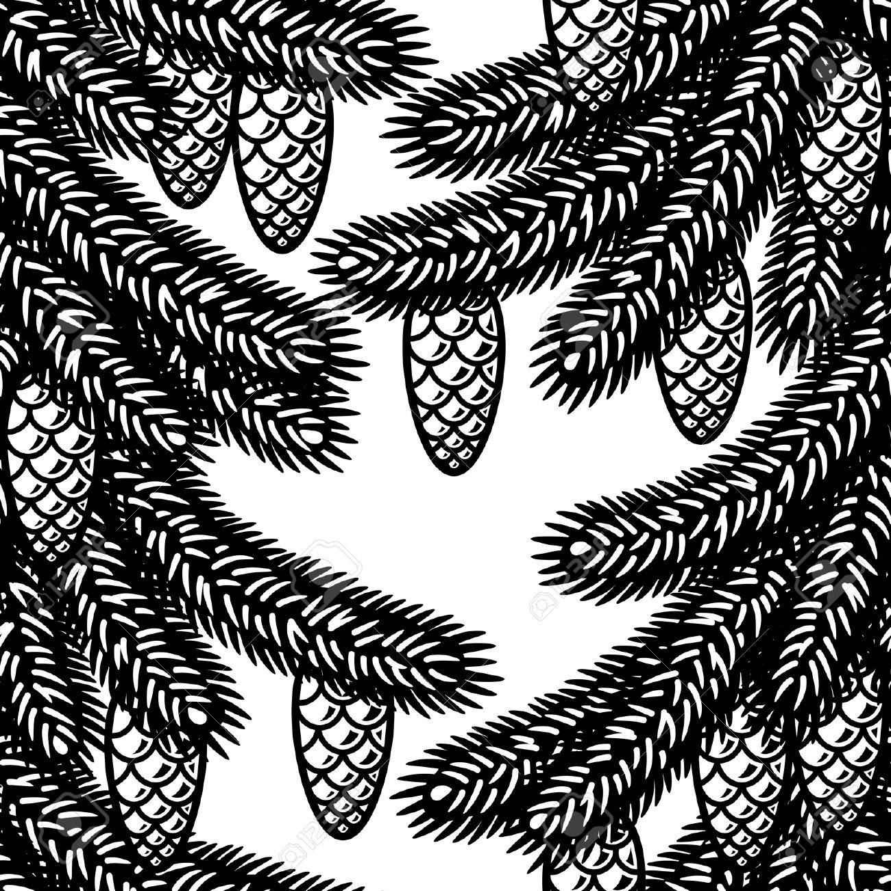 Seamless spruce background black and white Stock Vector - 8195218