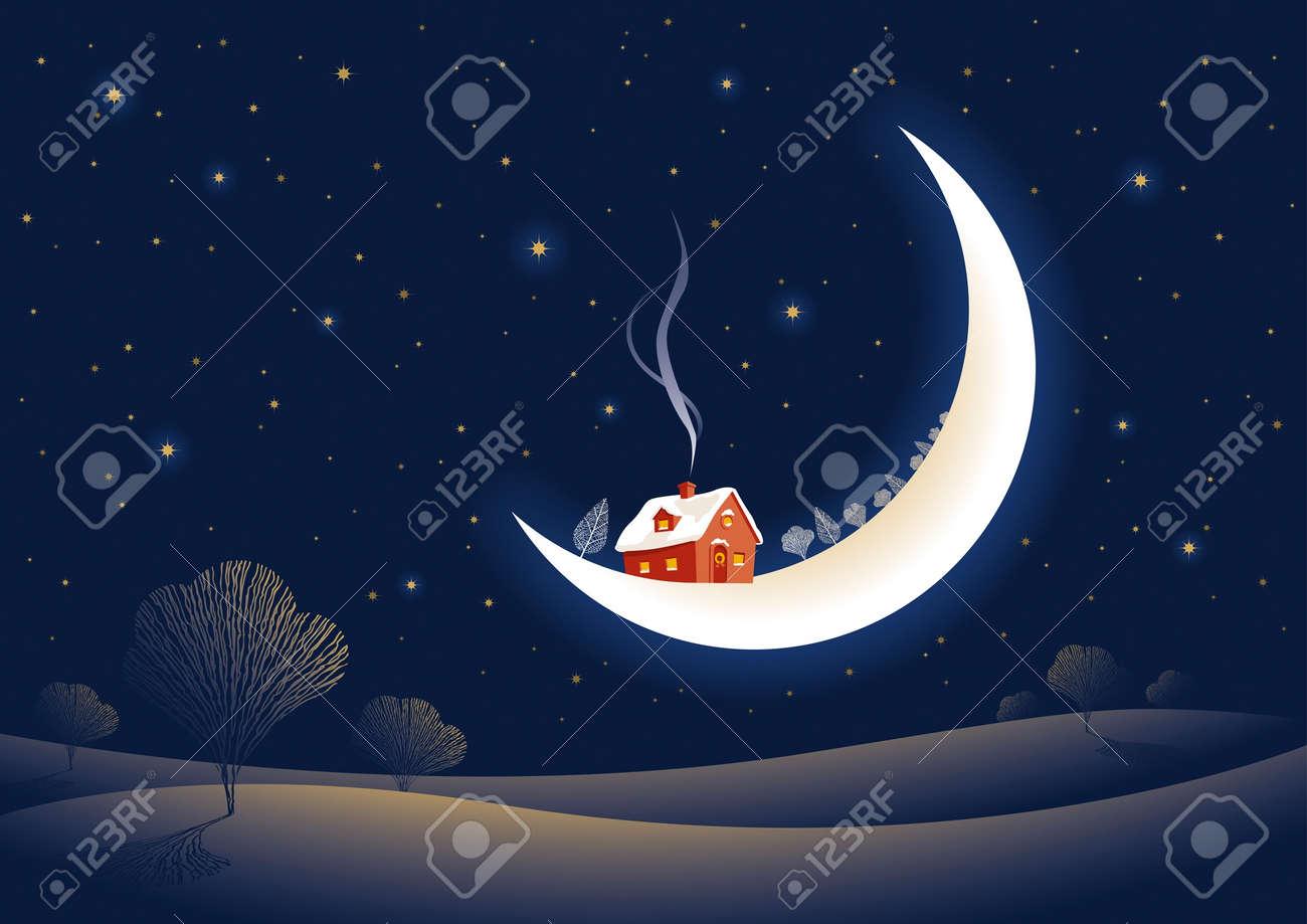 Christmas moonlit night Stock Vector - 11268251