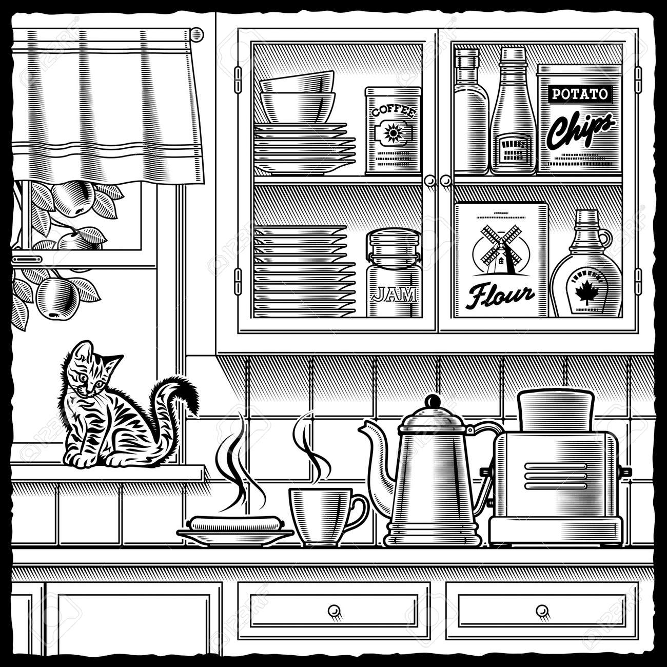 Cartoon kitchen with cabinets and window vector art illustration - Kitchen Window Retro Kitchen Black And White