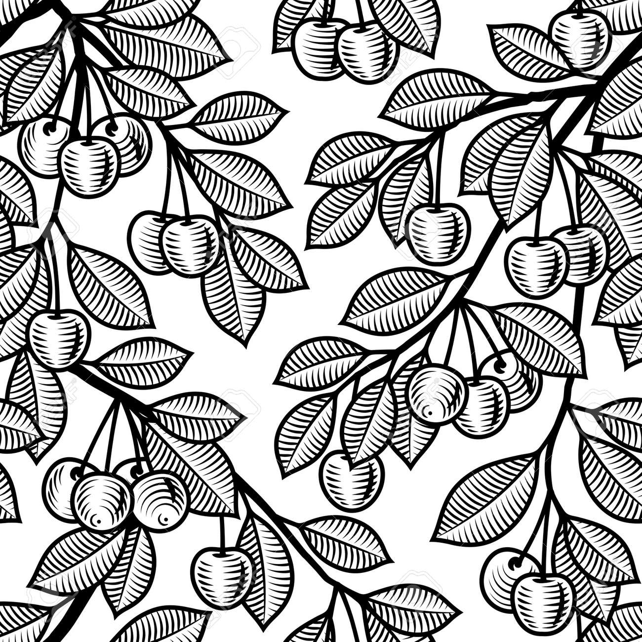 Seamless cherry background black and white Stock Vector - 14487988