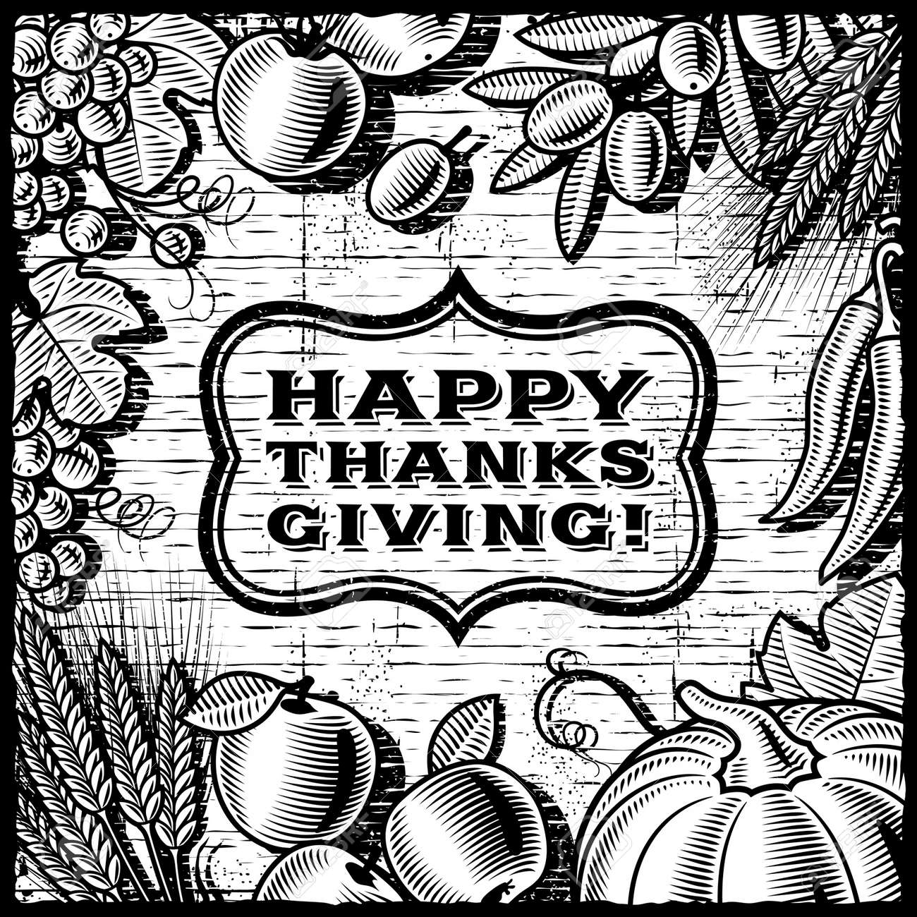 Thanksgiving Retro Card Black And White Stock Vector