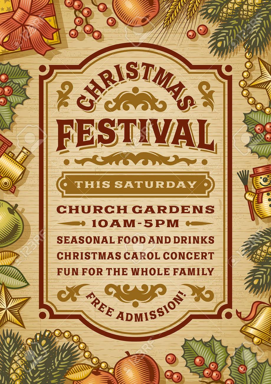 Vintage Christmas Festival Poster - 52410760