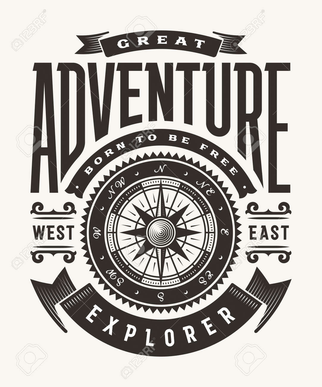 Vintage Great Adventure Typography (One Color) - 105520356