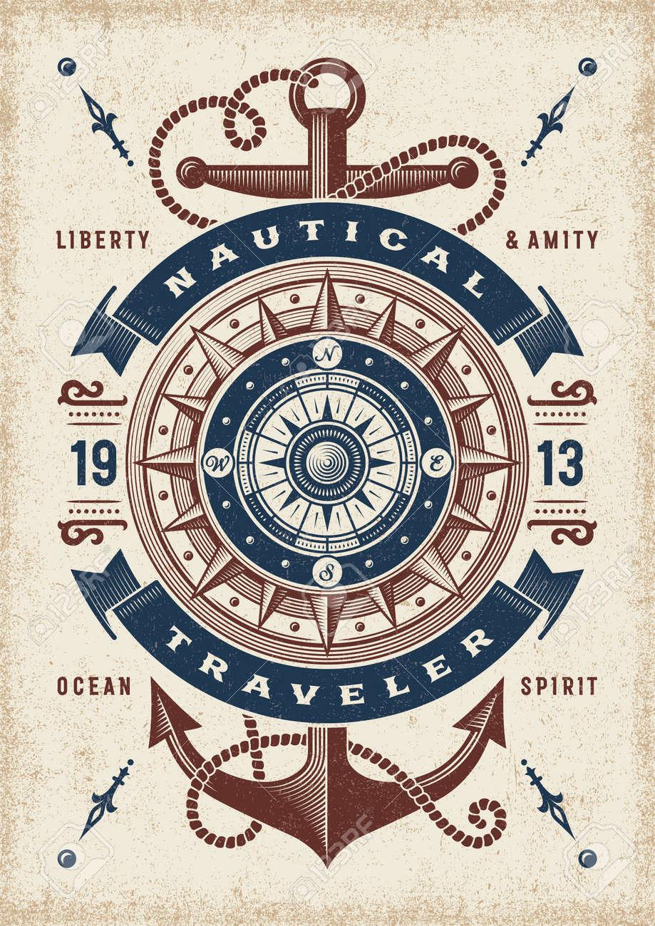 Vintage Nautical Traveler Typography - 123824530