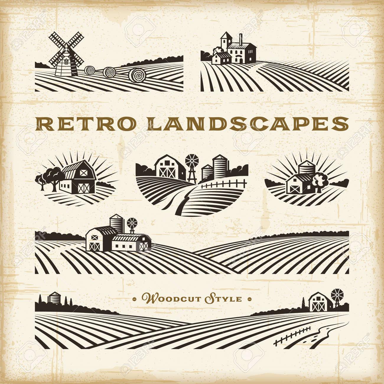 Retro landscapes set - 134452519