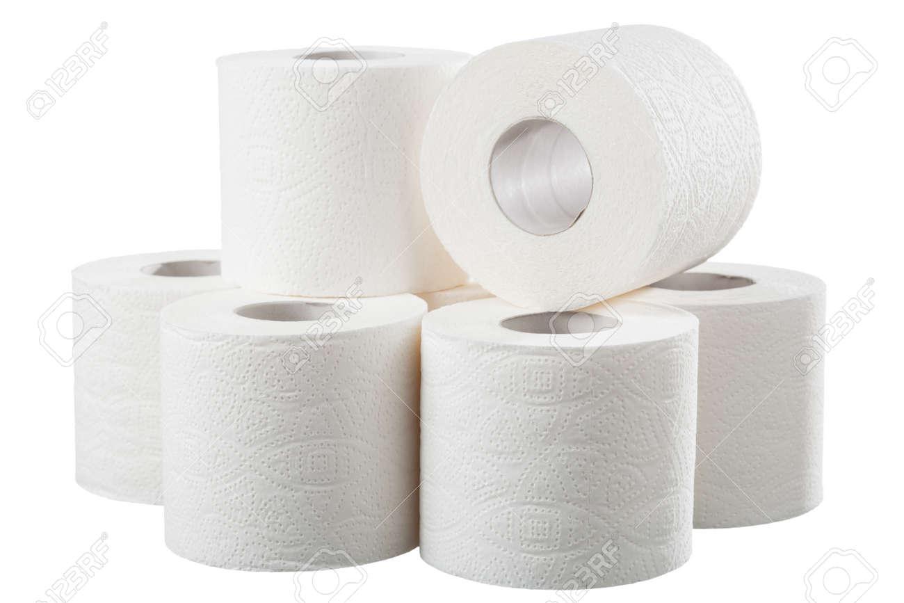 Rolls of white toilet paper on white background - 151984474