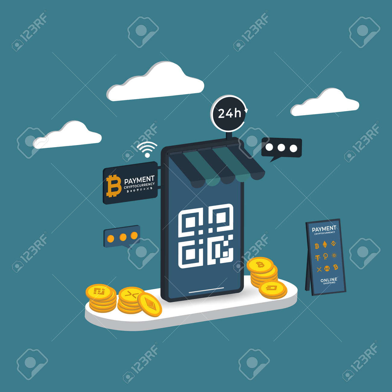 Online shopping 3D isometric Payment cryptography Vector illustration - 165927201