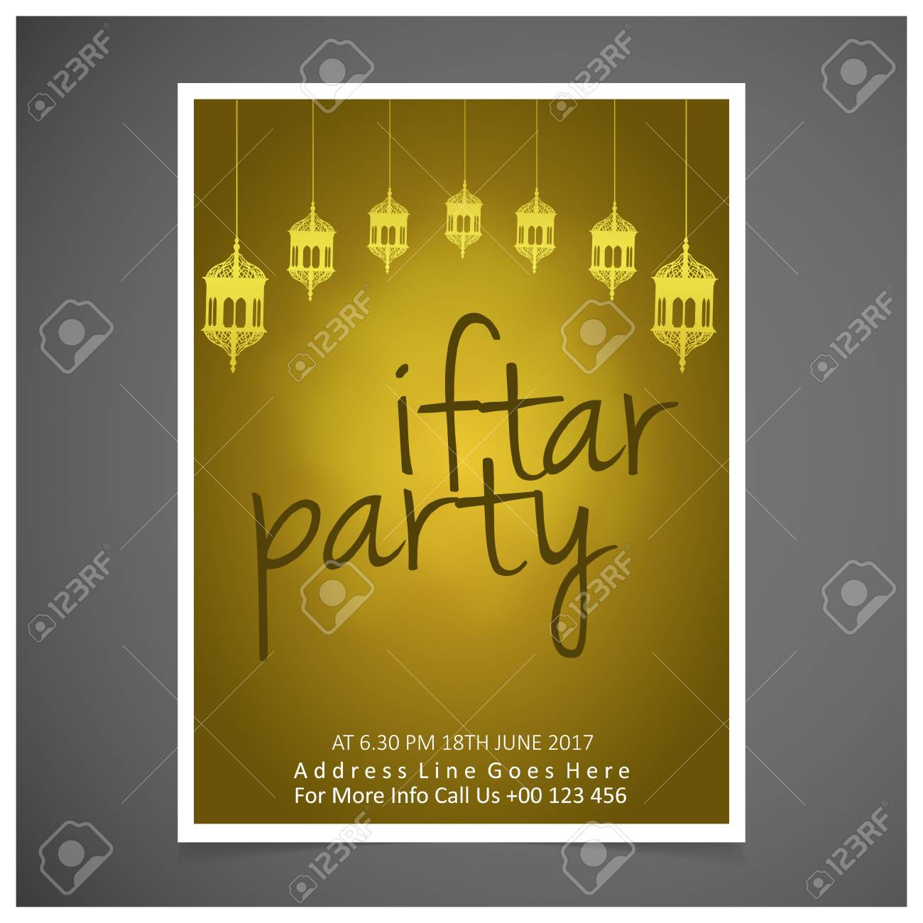 Elegant Iftar Party Invitation Card Design Decorated On Yellow