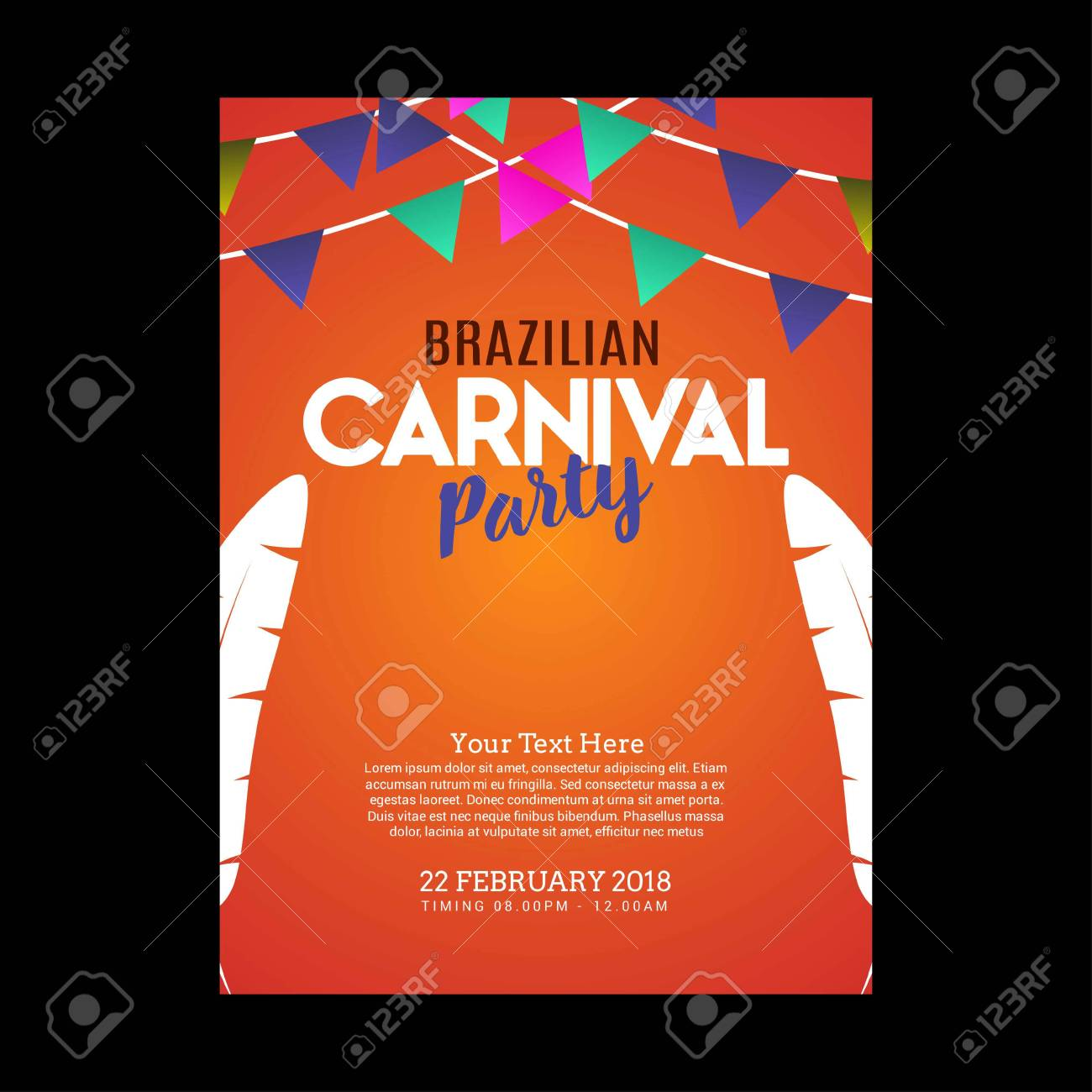 Happy Brazilian Carnival Day Orange Carnival Party Invitation