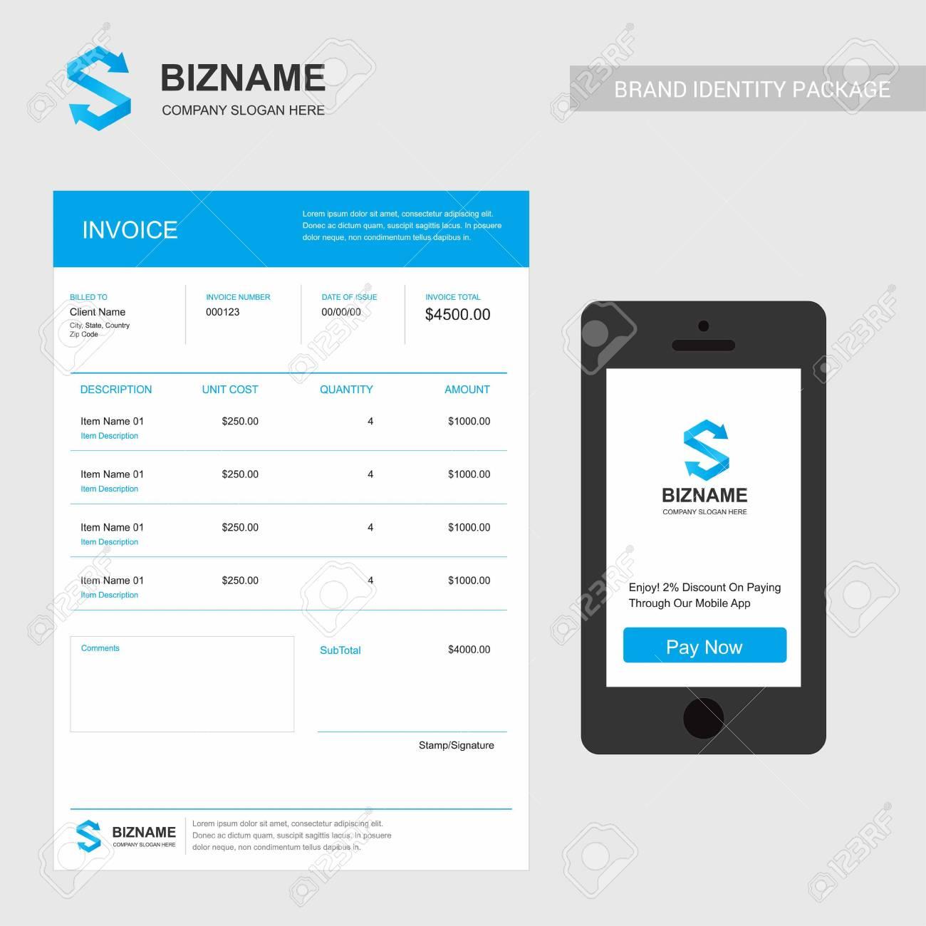 Company Invoice Design With Creative Design Vector For Web Design