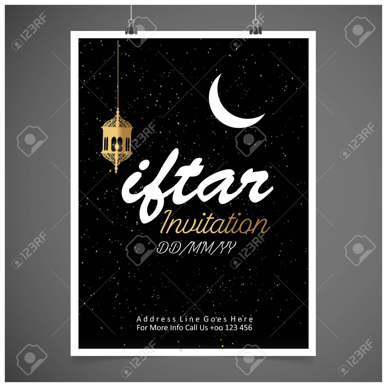 Iftar Party Invitation Card Design Vector