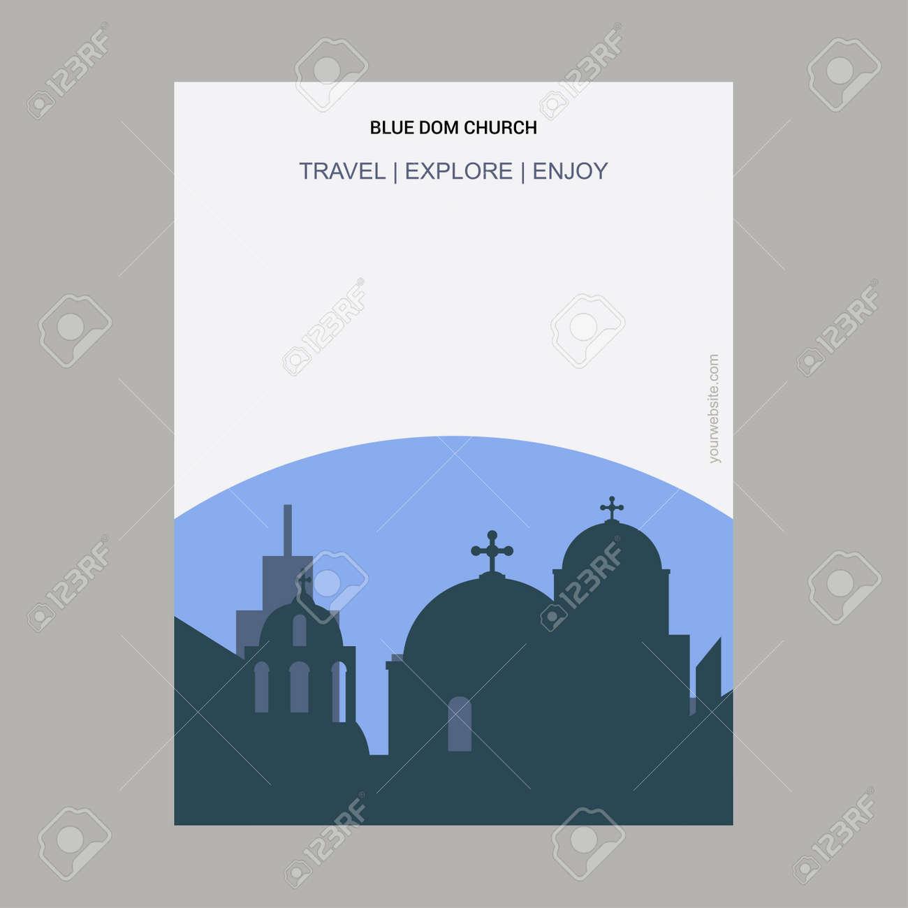 Blue Dom Church Slovakia Vintage Style Landmark Poster Template