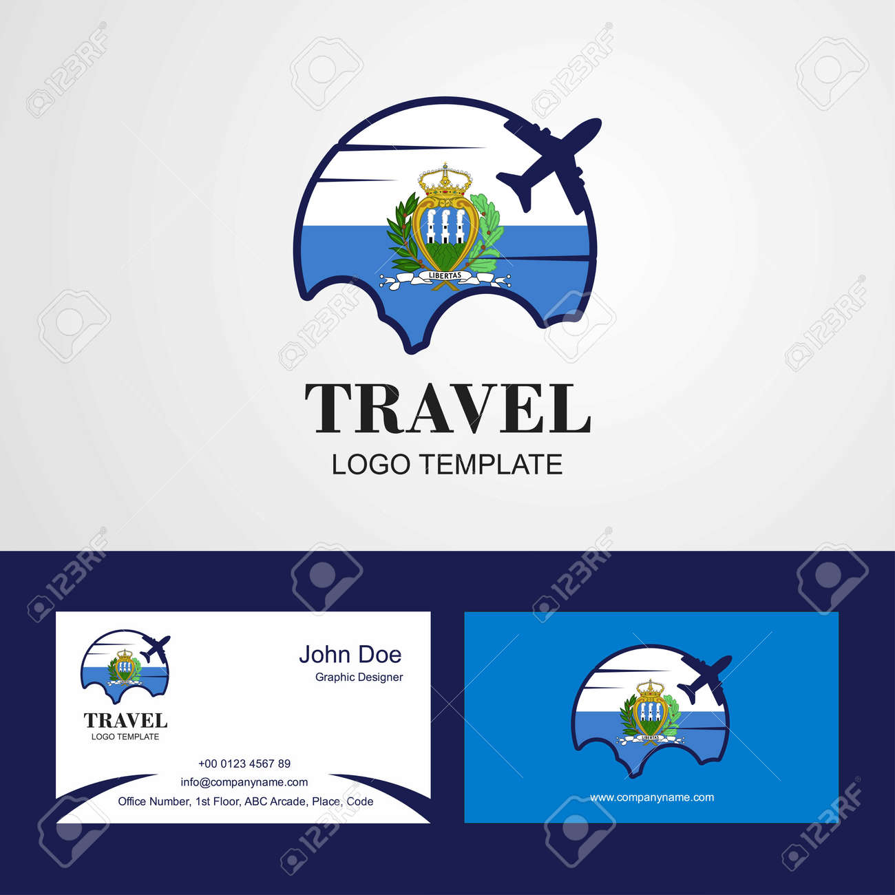 Travel San Marino Flag Logo and Visiting Card Design
