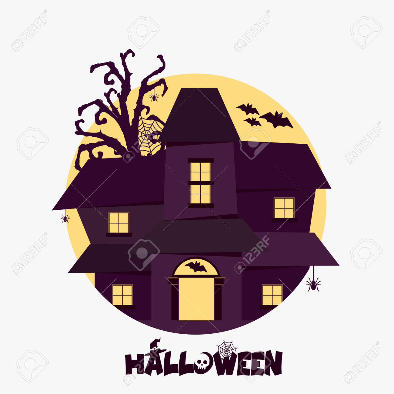 Halloween House Ghost Party Invitation Card Banner Flat Vector