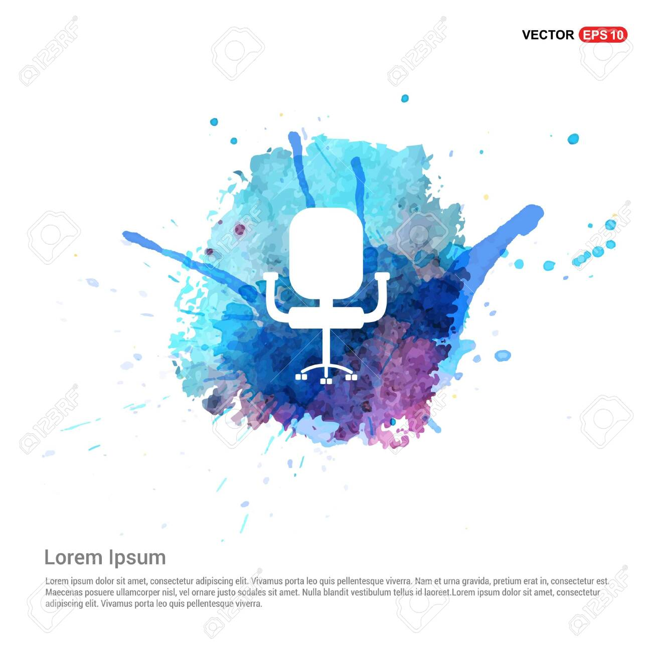 Office Chair Icon - Watercolor Background - 118333599
