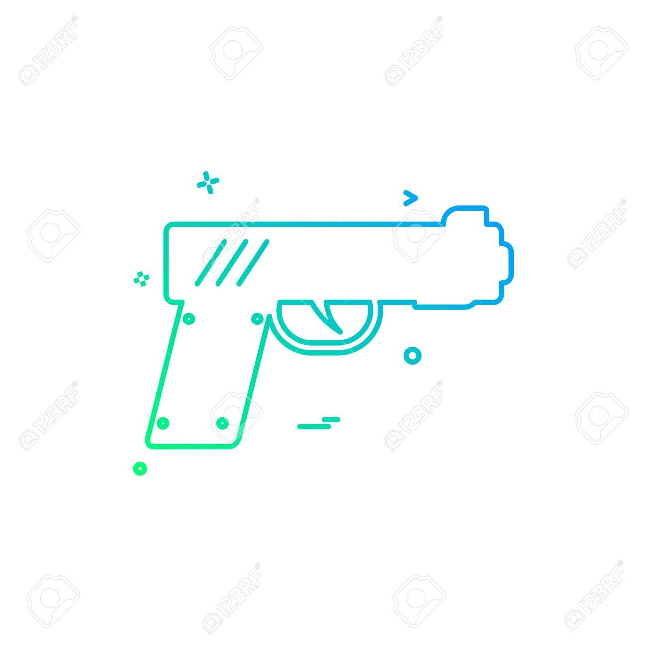 gun pistol police weapon icon vector design - 118215352