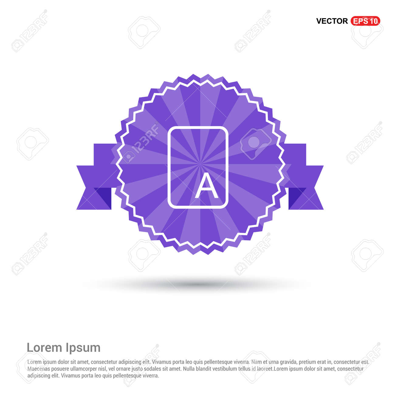 Letter Text Icon - Purple Ribbon banner - 122160121