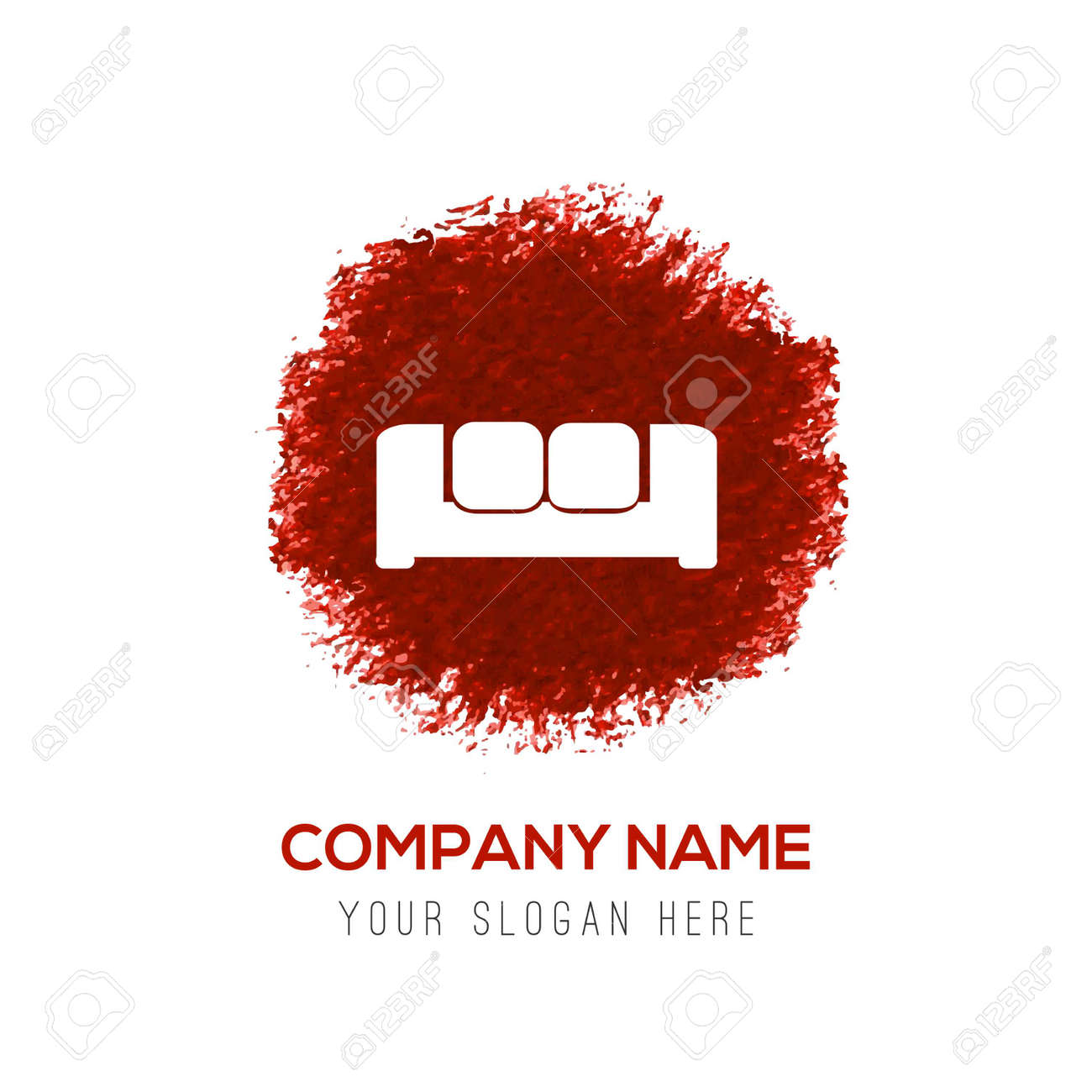 Sofa Icon - Red WaterColor Circle Splash - 122160361