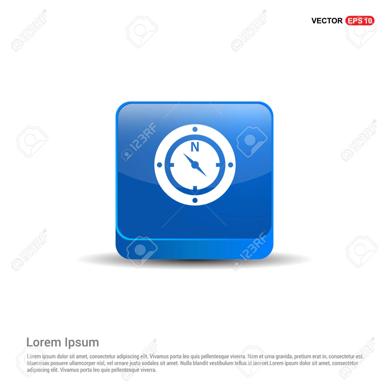 Compass Icon - 3d Blue Button. - 122160368