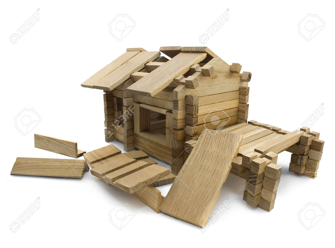 Broken house  Isolated wooden broken toy house view