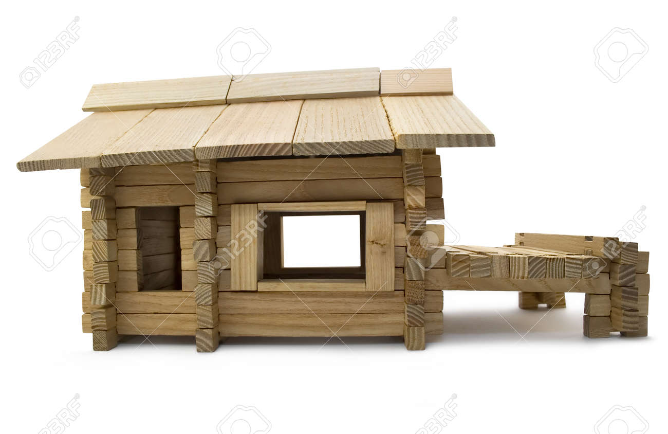Wooden house profile  Isolated wooden toy house profile view