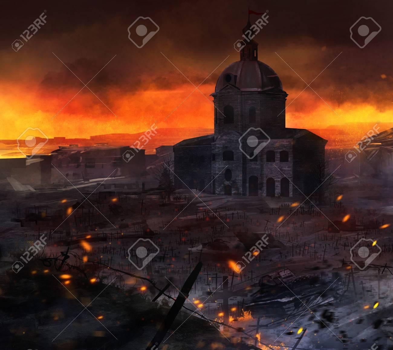 戦争フィールド アート。タンク、教会・墓とイラスト投稿の戦闘シーン