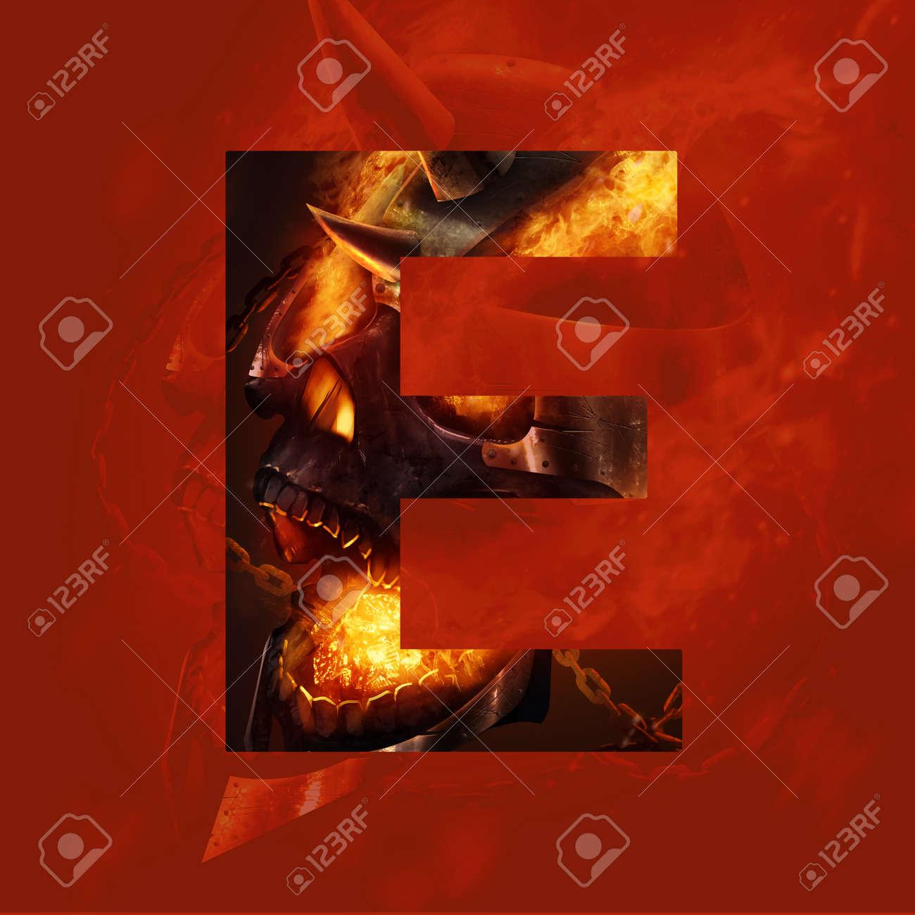 29aa64ae64d0 Illustration - Monster letter E. Letter sign with horrible and evil fire  skull monster face illustration art.
