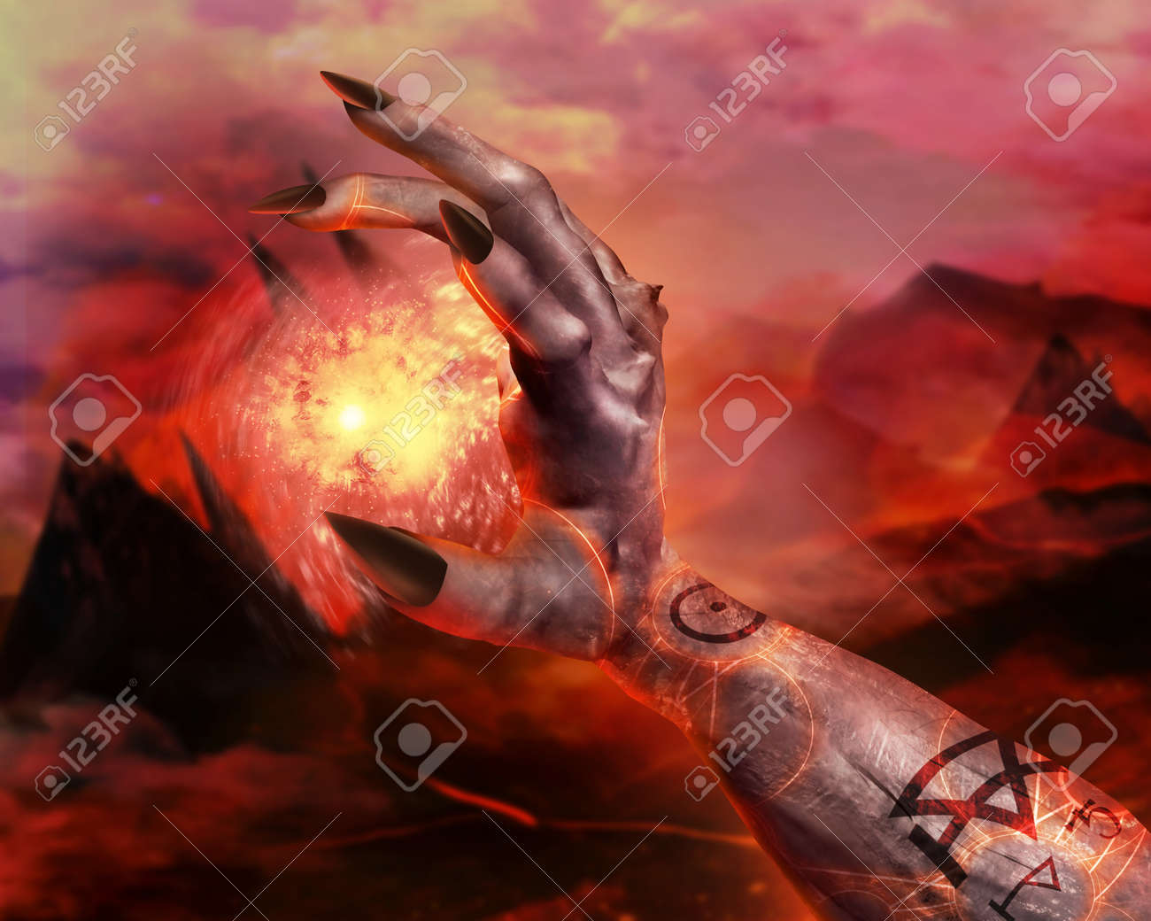 3d First Person View Demonic Hand Holding Fireball Spell With Pentacle Glowing Signs On Hellish Landscape