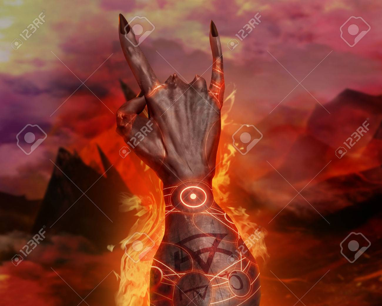 Artwork of a 3d first person view demonic hand showing horn sign artwork of a 3d first person view demonic hand showing horn sign and magic pentacle fire voltagebd Images