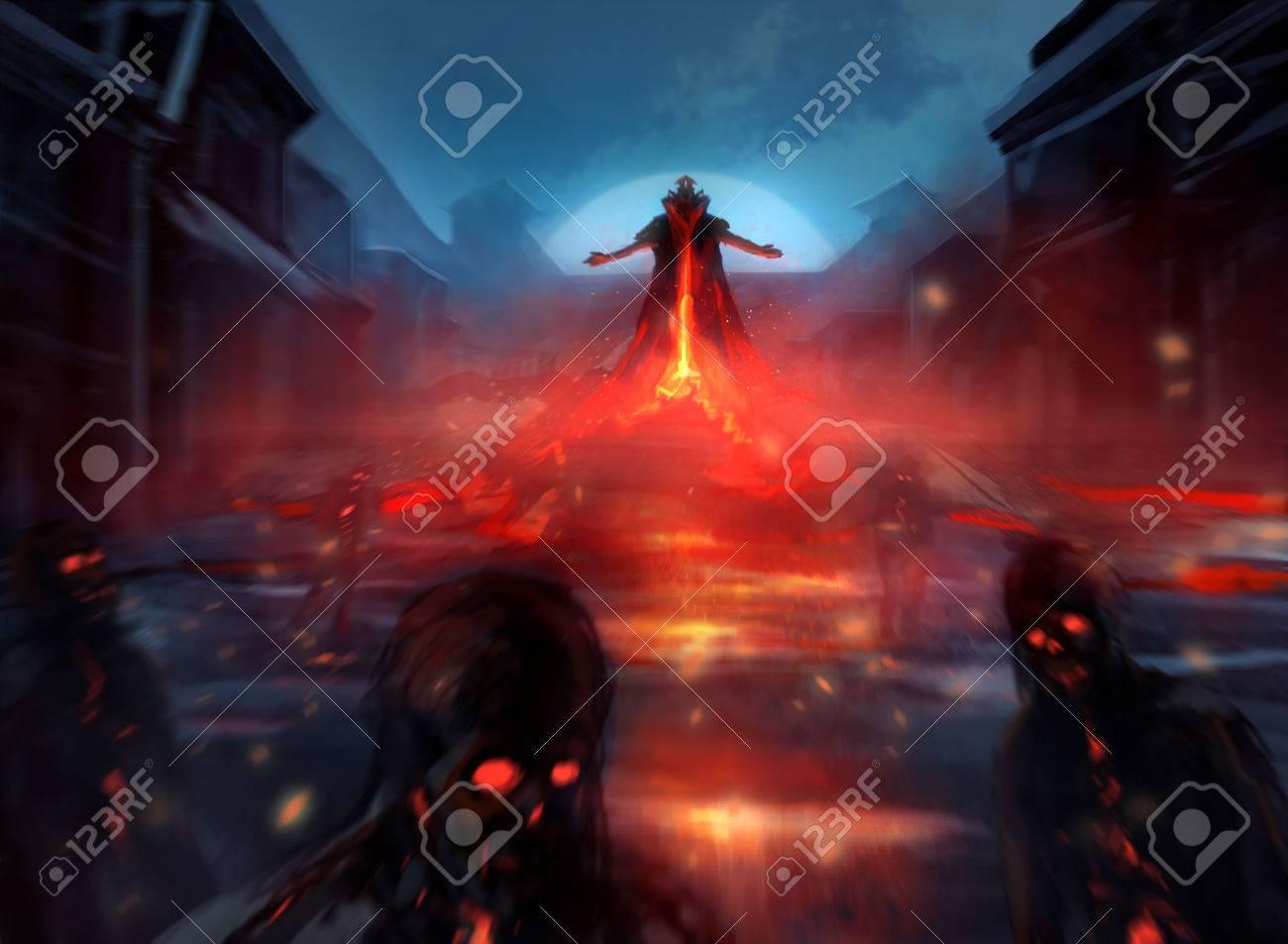 火災の効果とぼやけた霧の邪悪なゾンビ部隊を召喚魔王のイラスト の