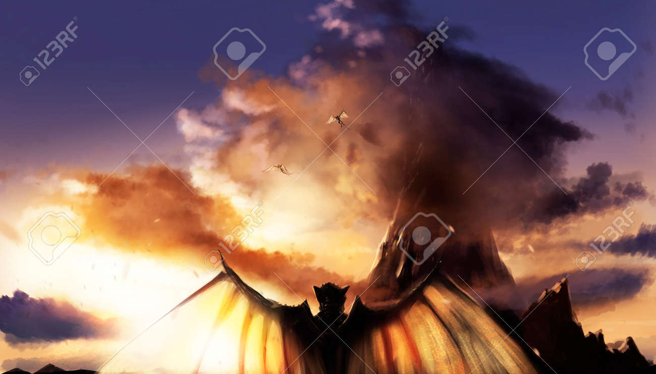 Fantasy illustration of a sunset mountain landscape with flying and standing demons with wings. - 85872656