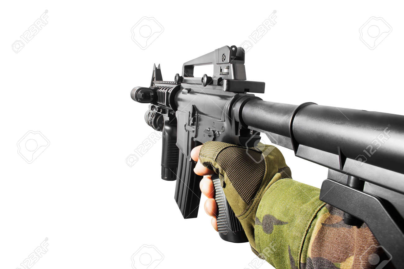Vr first person view of a soldier hand holding automatic rifle