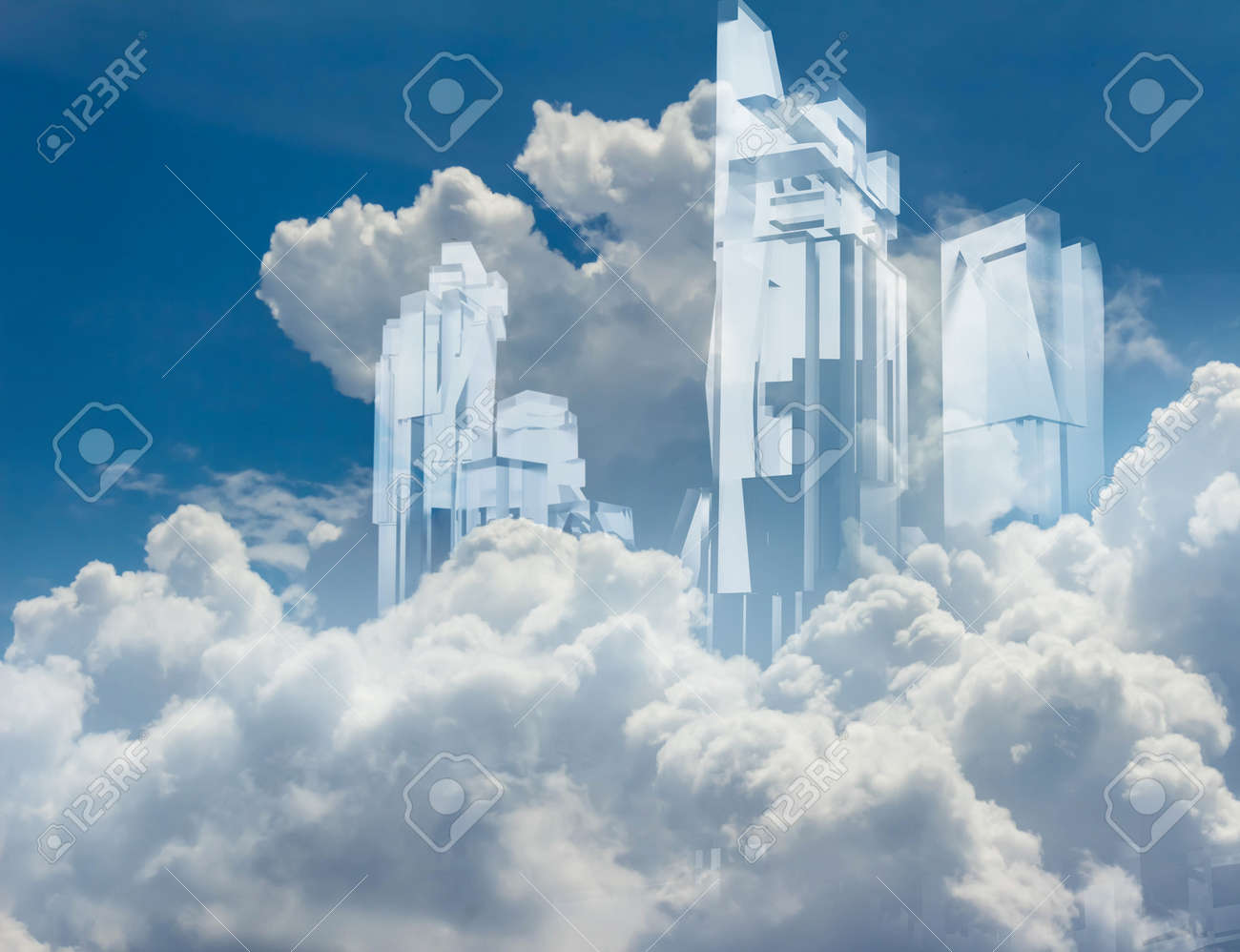 Artwork of a crystal build transparent glass skycrapers flying